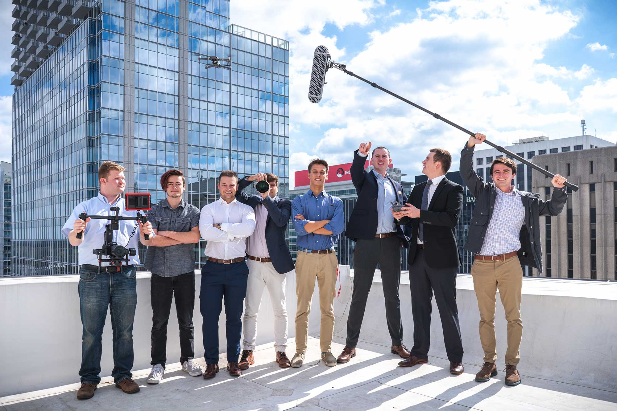 9miles Media team picture on roof